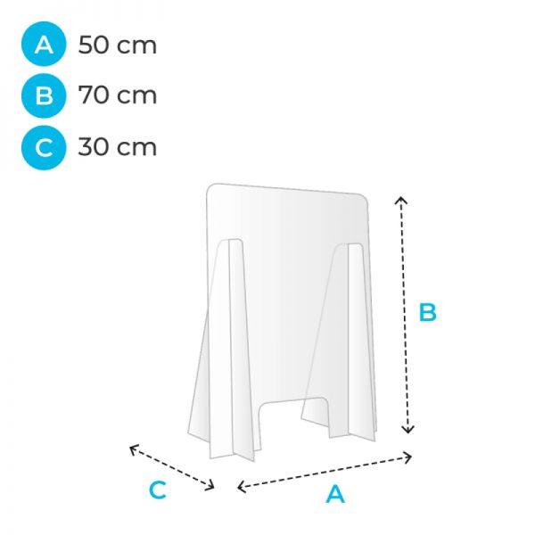 barriere de protection plexiglas 50 cm covid corona