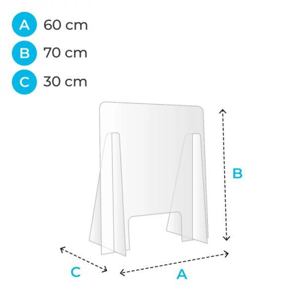 barriere de protection plexiglas 60 cm covid corona