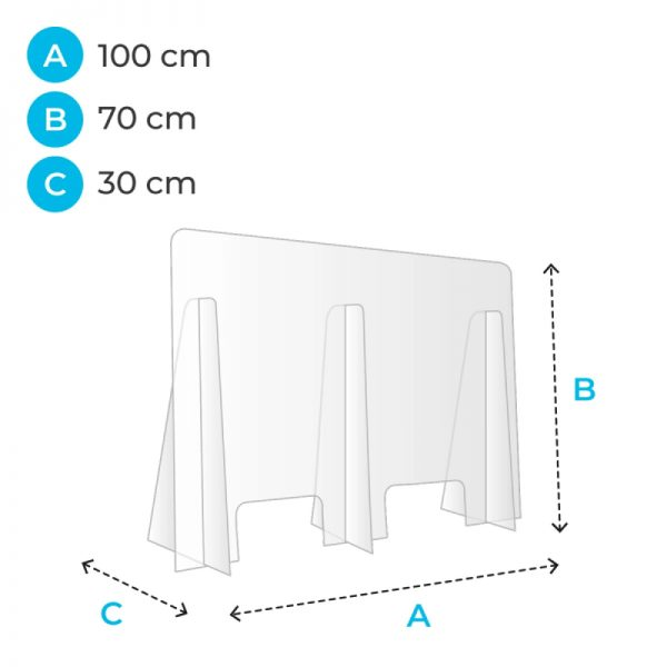 barriere de protection plexiglas 100 cm covid corona