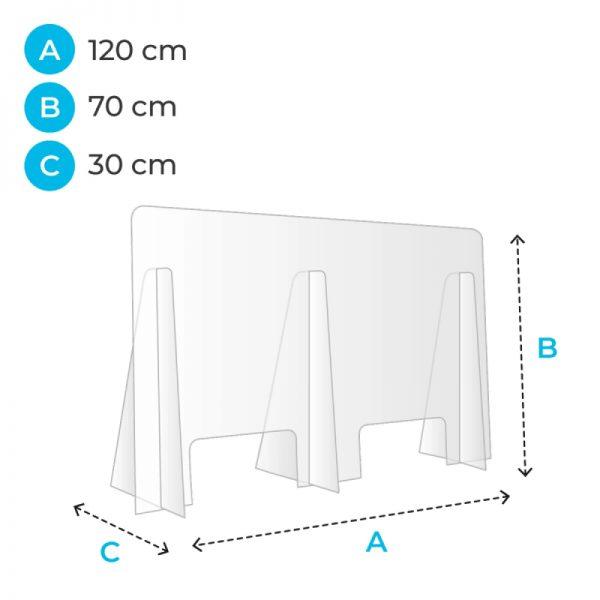barriere de protection plexiglas 120 cm covid corona
